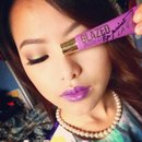 Bold, bright Purple lips with neutral eye shadow