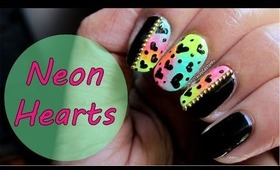 NEON HEARTS Nail Art Tutorial for VALENTINES DAY.
