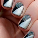 Color Block Nail Art with Micro Beads