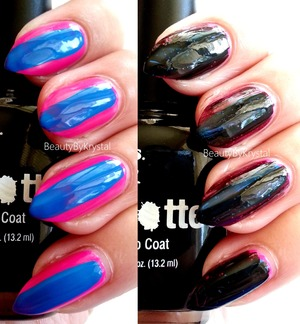 Get Spotted Nail Art Kit ($6.48 at Walmart), two mini nail polish shades a hot pink and a bright blue, one large bottle of the black spotted nail polish. REVIEW: http://www.beautybykrystal.com/2013/07/fingrs-get-spotted-nail-art-kit.html