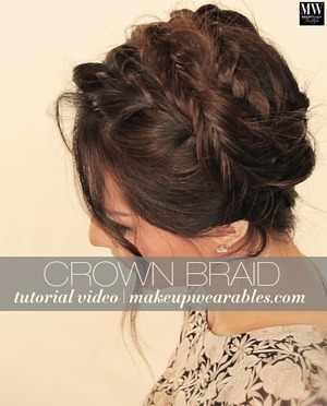 Want to know how to do a messy, crown braid on your hair?  Watch how to here, scroll down for the tutorial video.   http://www.makeupwearables.com/2014/03/crown-braid-hairstyle-tutorial.html