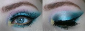 Colourful look using mostly the Lagoon palette by Sleek cosmetics.