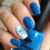 Blue Watermarble Nails