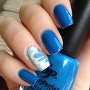 Blue Watermarble Nails