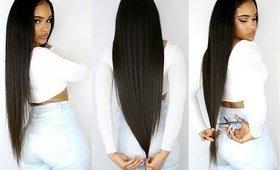 CUTTING MY OWN SUPER LONG HAIR!!! + Going Natural?