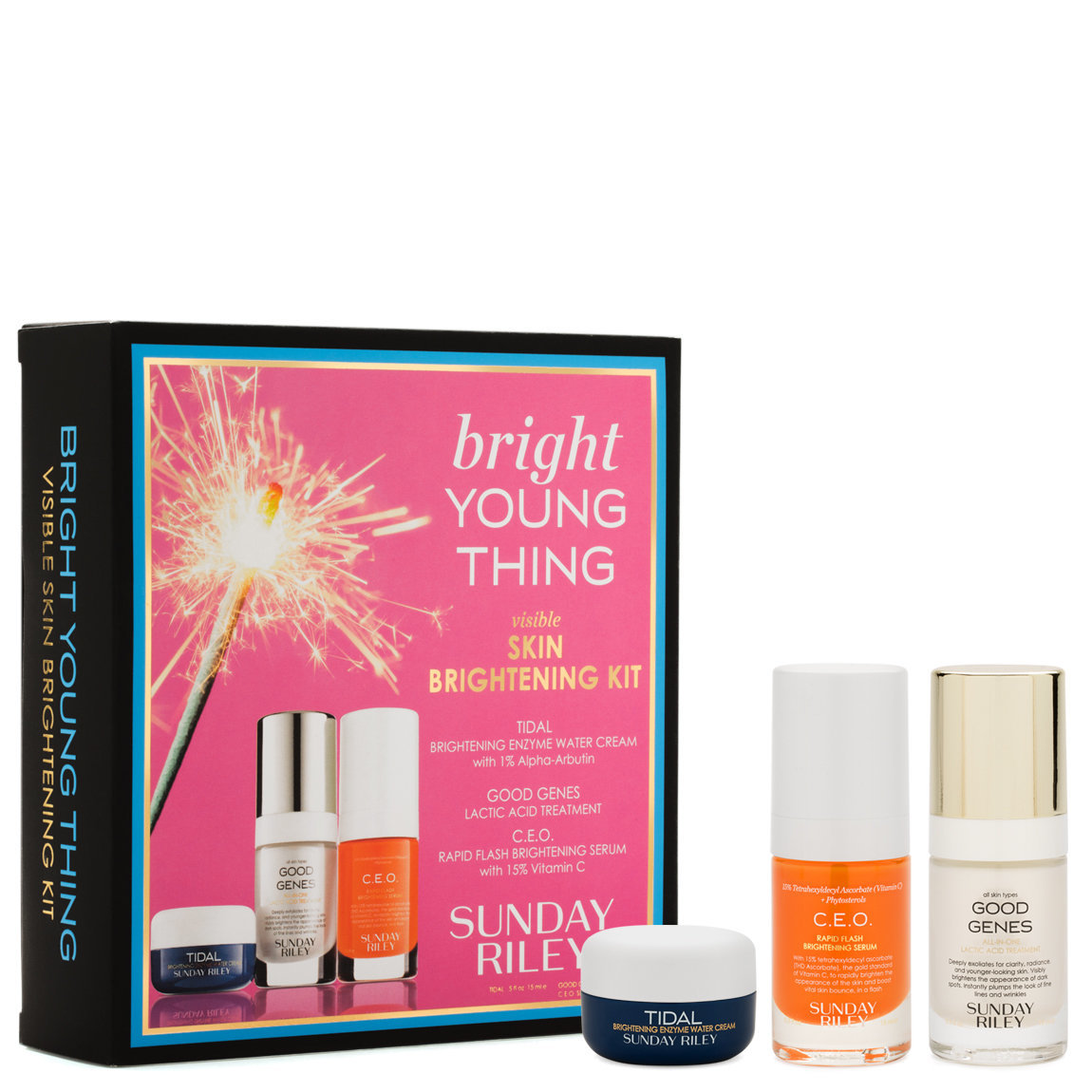Sunday Riley Bright Young Thing Visible Skin Brightening Kit product smear.