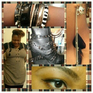 Brown Bag Dress- Rainbows  Bangles-Torrid Feather Earrings- K-Mart Skull Earrings- Torrid Boots- Abbey Dawn