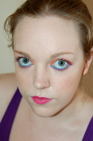 Summer Brights makeup. Tutorial for this look here: http://www.youtube.com/watch?v=3B6X-fb4c5A