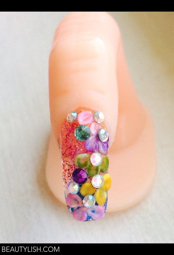 coffin nails, 3D flowers, glitter | Claudia A.\'s Photo | Beautylish