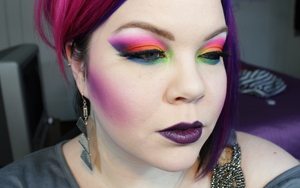 "A full face photo of the makeup from my ""Midnight Rainbow"" tutorial"