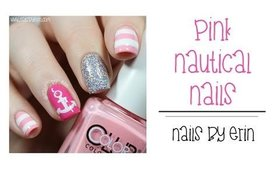 Pink Nautical Nails | NailsByErin