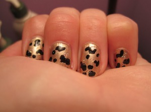 For this manicure I used: Milani Gold Dust Sally Hansen Black Out Iridescent Glitter