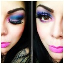 blue envy pink eye look
