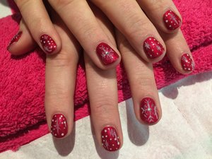 Christmas Nail Art, Red and White. Snowflakes