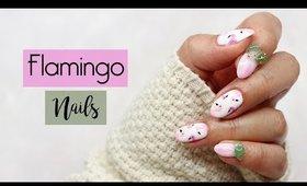 Summer Flamingo Gel Nails ♡