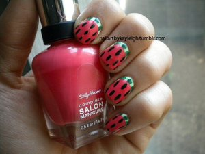 Cherimoya in Melon Sinful Colors in Envy Sally Hansen Complete Salon Manicure in Frutti Petutie black striper polish for the seeds