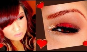 ღValentines dayღ Red and Gold smokey eyes
