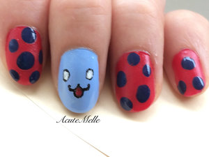 A catbug inspired nail art design :) Tutorial here: https://www.youtube.com/watch?v=nuD93RRkUo8