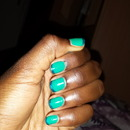Metalic blue and green french manicure