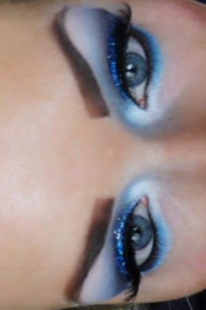 Blue glitter eye, on myself