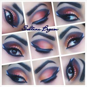 Orange,  red smokey eyes