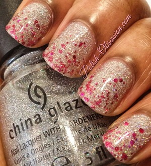 Polishes used: China Glaze Glistening Snow and Rainbow Honey XOXO http://www.polish-obsession.com/2013/06/show-love-saturday.html
