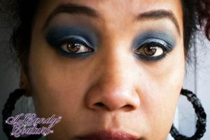 Feeling Blue...  FOTD 1/27/12:  Using I-Candy Couture's Pigments: Maui, Desire, New Moon and Peaches & Creme.  On my lips: I-Candy Couture's Lipstick in Strawberry Cheesecake and as my primer I used the new ICC I-Candy Fix, Eye Primer.   Earrings also by