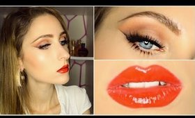 Classic Red Glossy Lips + Soft Smokey Winged Eyeliner ♥ Makeup Tutorial
