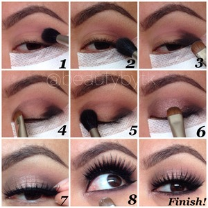 """Follow instagram beautybytk 1⃣Blend """"limit"""" in crease 2⃣Blend """"nooner"""" in out crease 3⃣Pat """"blackheart"""" in outer corner eyelid 4⃣Pat """"factory"""" in inner corner eyelid 5⃣Blend """"blackheart"""" then blend """"factory"""" so they appear softer  6⃣Pat """"dust"""" on center of eyelid 7⃣Apply @stilacosmetics waterproof black liner and @houseoflashes """"noir fairy"""" 8⃣Apply black liner with """"nooner"""" and apply """"dust"""" inside inner corner of eye"""