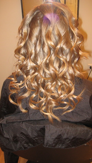"Perfect Curls done with a 1"" curling iron"