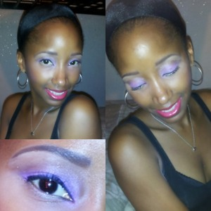 Bright Fuschia eyes(Urban Decay) and glossy pink lips(Revlon Balm Stain)...Great for any time of the day or night.