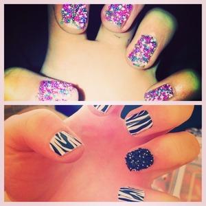 Zebra print nail art and caviar nails :)