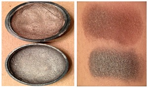 These are two eyeshadows I made using loose Shany pigments and some old Wet n Wild singles. They come off very creamy and highly pigmented. I used these in an eyeshadow look and was able to blend them out nicely. The darker of the two was the original which I had left over of and decided to make another color using a Mabelline copper toned shadow.  I Used: 95% Rubbing Alcohol Broken and old drugstore quads and shadows Loose Shany Cosmetics Pigments