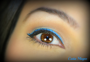 Fun winged liner usng mixing medium great for someone wanting to use a little color!