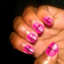 Cross Design with Pink Polish and also Black Polish
