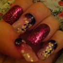 Glitter and flower nail design