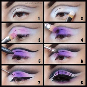 1. Apply a white base (NYX milk jumbo pencil), and outline the crease with a black shadow and liner brush 2. Apply Sugarpill 'tako' shadow on the inner & outer corners (matte white) 3.Blend a light pink matte shadow (MAC silly) into the white shadow 4. Apply Sugarpill 'poison plum' in the centre of the lid and blend into the light pink 5. Define the crease with MAC feline pencil (my fav) 6. Shade out with MAC #228 brush and soften with a fluffy brush 7. Apply a black liquid winged liner and extend in the inner corner 8. Add bottom liner, mascara & lashes <3  Instagram + Twitter: @StarrlyGladue Facebook: Makeup by Starrly www.StarrlyGladue.com