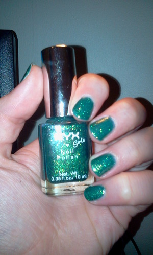 "NYX Girls nail polish in ""Emeral Forest""."