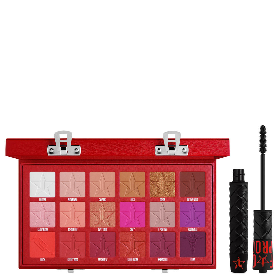 Jeffree Star Cosmetics Blood Sugar Eyeshadow Palette + F*ck Proof Mascara alternative view 1 - product swatch.