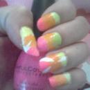 Pink orange and green