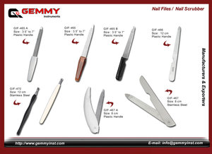 Manufacturers and Exporters of all kinds of Manicure & Pedicure Files such as Nail Files, Corn Cutter Stainless Steel & Plastic Handle, Foot Files, Corn Reducer, Swiss Foot Files, Shaving Razor, Barber handle Shaving Razor,