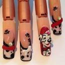 3D Dalmatian Nail Art
