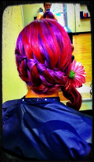This was so much fun!!! the color was just amazing to work with! bridesmaid hair!