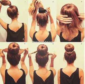 """many of you wonder how to get that perfect """"bun"""" well here's how. You can use an actual sock as shown OR purchase a """"hair doughnut"""" like I use. ~ the hair that is left out you can braid then wrap it around the bun, secure it with bobby pins or simply just pin the hair around using bobby pins.  [[ this isn't me , however I have done this and I always use my hair doughnut ]]"""