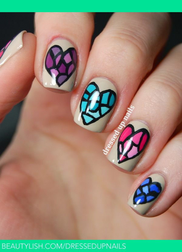 Stained glass heart nails | Whitney S.\'s (dressedupnails) Photo ...