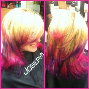 My regular decided To go crazy just did a full head I highlights and used special effects on her ends! Soo fun!