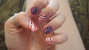 This is my pink and purple stripped nails!