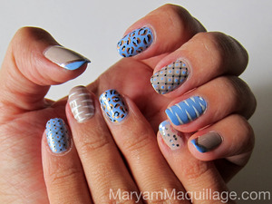 Just mixing patters :)) For details and a tutorial of each pattern, please visit my latest blog post: http://www.maryammaquillage.com/2012/06/mixed-patterns-nailart.html