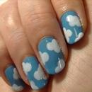 Cute Fluffy Cloud Nail Art