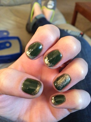 Green and gold gel manicure